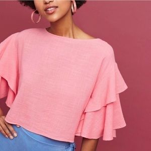 Lilka Lora Ruffled Button Back Pink Top Anthro